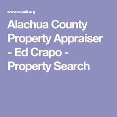 Alachua County Property Appraiser Search