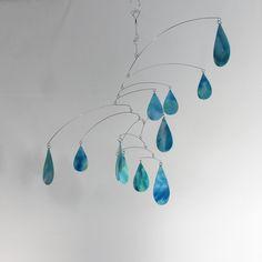 Custom Made Cool Rain Art Mobile - Hanging Kinetic Sculpture - Watercolor