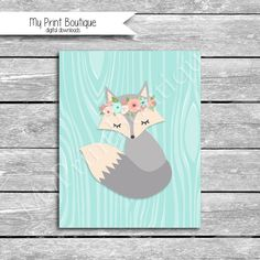 8x10 Inch Instant Digital Download - Floral Headband Flowers Fox Mint Coral Grey Baby Shower Decor Eva Feathers Nursery Art Printable JPG Mint Coral Gray Fox Baby Shower Nursery Decoration Crib set Peanutshell Medallion Mila Tribal crib set bedding lambs and ivy little spirit trend lab wild forever Adorable Fox Woodland by MyPrintBoutique on Etsy