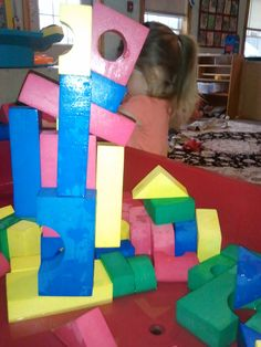 Foam blocks in the water table with water! They stick together! This is one of our favorite activitities.