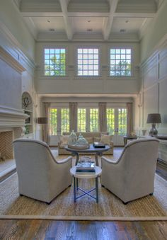 Love The Two Story Open Great Room With The Full Height Stone Fireplace A Modern Look With