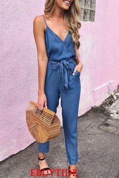 Jumpsuits - Summer Spaghetti Strap Wrap Top Tie Waist Casual Jumpsuit Source by helenesookes - Halter Jumpsuit, Jumpsuit Outfit, Casual Jumpsuit, Jumpsuit With Sleeves, Summer Jumpsuit, Elegant Jumpsuit, Denim Jumpsuit, Overalls, Casual Summer Outfits