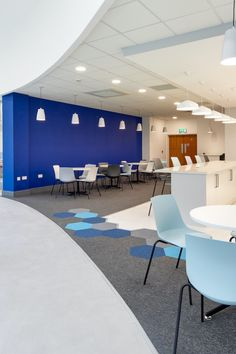 Be big bold and beautiful with this arrangement of flooring to accent transition spaces. Carpet To Tile Transition, Commercial Carpet, Blue Carpet, Carpet Tiles, Floor Design, Color Splash, Design Inspiration, Flooring, Spaces