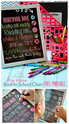 DIY Chore Charts - Dry Erase Back to School Kids Chore Chart FREE Printable via The Avenue back to school powerpoint, back to school chalkboard, back to school pictures Homework Organization, Back To School Organization, Organizing Ideas, Organising, Paper Organization, Homework Station, Homework Chart, School Chalkboard, Chalkboard Paint