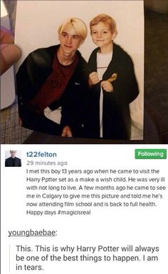 I am in tears! This is why Harry Potter and Tom Felton are the best thing ever! I am a proud Potterhead!