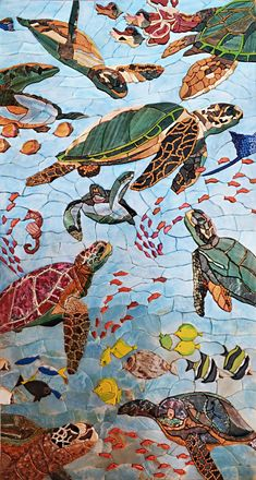 Mosaic Patterns- Sea Turtles and Fish | Marine Life&Nautical | Mozaico