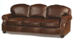 8065-83 Windsor Leather Sofa With Solid Brass Nail Trim