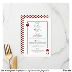 The Monogram Playing Card Wedding Collection Menu Casino Wedding, Las Vegas Weddings, Red Wedding, Wedding Colors, Wedding Menu Cards, Wedding Invitations, Invites, Menu Design, Design Quotes