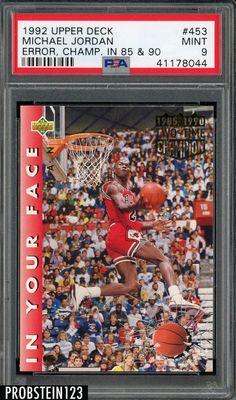 0ed421eef4ec8a Michael Jordan PSA 10 Graded Basketball Cards · 1992 Upper Deck Error Champ  in 85  amp  90  453 Michael Jordan Bulls HOF