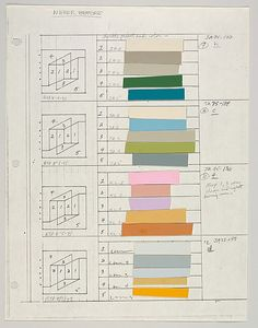 Untitled (for 'Never Before' h c f d) Josef Albers - American (born Germany) Bottrop 1888 – 1976 New Haven Connecticut graphite, ink and paint swatch Josef Albers, Anni Albers, Color Patterns, Color Schemes, Color Charts, Gfx Design, Paint Swatches, Paint Swatch Art, Color Studies