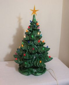 vintage atlantic mold musical ceramic christmas tree my grandmother had one of these with little birds instead of the lights she always put it out at