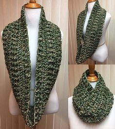 Crochet Scarf, Olive Green Scarf, Chunky Scarf, Infinity Scarf, Crocheted Scarf, Circle Scarf, Gifts for Her, Winter Scarf, Green Knit Scarf by CozyNCuteCrochet on Etsy