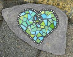 green mosaic heart