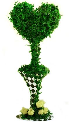 """11"""" Artificial Moss Topiary Queen Heart Tree Alice in Wonderland Mad Hatter Tea Party Decoration:"""