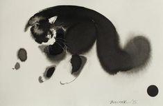 Ink And Watercolor Black Cat Paintings http://designwrld.com/endre-penovacs-watercolor-cat-paintings/