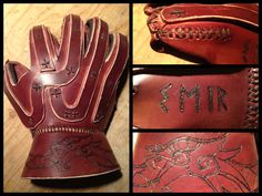 A protective combat gauntlet I have made for fighting with steel weapons. The gauntlet is not historically correct, although one similar (without the mo. Viking Armor, Viking Garb, Larp Armor, Leather Armor, Leather Gloves, Halloween Cosplay, Cosplay Costumes, Fighting Gloves, Armours