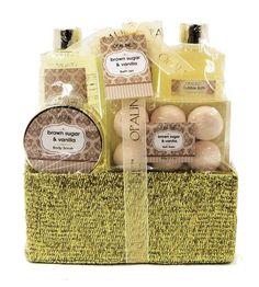Brown Sugar & Vanilla Luxury Bath Spa Gift Set - Charpie Basket, Shower Gel, Bubble Bath, Body Lotion, Body Scrub, Bath Fizzer