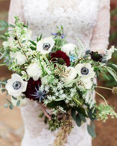 organic bouquet with anemones - photo by Photos by Heart http://ruffledblog.com/romantic-birmingham-villa-wedding #weddingbouquet #bouquets