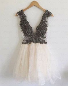 V-Neck Beading A-Line Short Prom Dress,Homecoming Dress,Graduation Dress F18