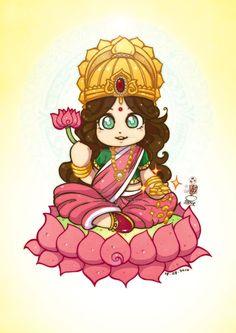 Maha Laxmi mata Chibi version for Diwali Happy Diwali Maha Laxmi mata Diwali Painting, Diwali Drawing, Durga Painting, Saraswati Goddess, Goddess Art, Lord Saraswati, Kali Goddess, Buddha Kunst, Buddha Art