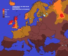Red Hair Map of Europe
