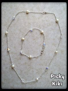 Handmade romantic set of pendant and bracelet with Swarovski beads and pearls | silver 925 |  length of pendant:50cm | Picky Kiki Accessories