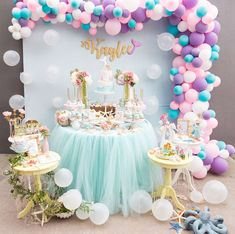 Fishing for a party as cute as can be? Kara's Party Ideas presents an Under the Sea Mermaid Birthday Party that does the job! Mermaid Theme Birthday, Unicorn Birthday Parties, Birthday Party Decorations, Pastel Party Decorations, 3rd Birthday, Birthday Ideas, Party Kulissen, Shower Party, Party Ideas