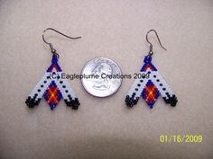Brick stitch double teepee earrings on Etsy, $15.99