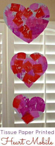 Tissue Paper Printed Heart Mobile