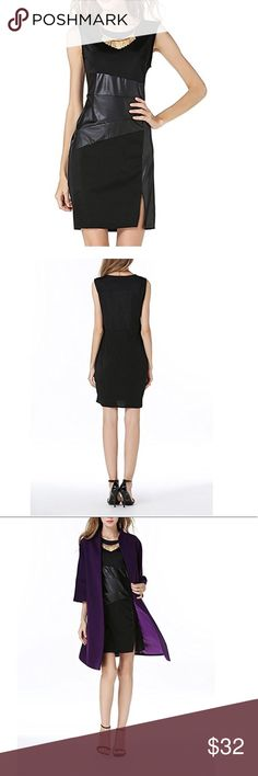 Black Sheath Pencil Dress With Leather Waist New. Please ask for your size, Dresses Mini