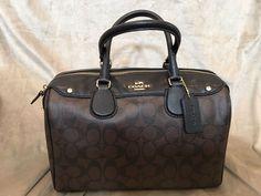 Coach Satchel Handbag with Brown/Black Logo Print #Coach #Satchel