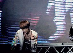 Caught in the act (gif) #Baekhyun He really loves his members' butts. :D