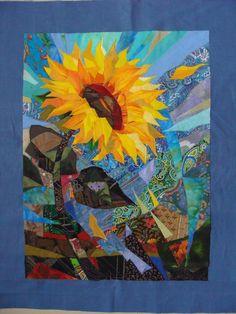 Sunflower by Valentina Maximova.  Featured artist, 2016 Festival of Quilts. Валентина Максимова из Углича создает свои произведения в технике текстильного коллажа. Она «…будто подхватила нить старинного ж