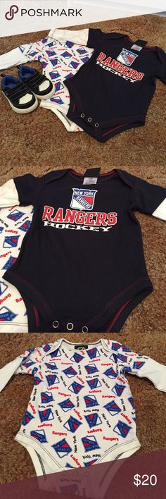 6-9 mos brand new onesies and size 2 op sneakers 2-NWT 0nesie long sleeve rangers and size 2 infant op sneakers like brand new condition NHL Other