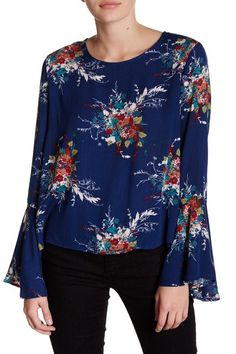 Bell Sleeve Floral Print Blouse by Lush on @nordstrom_rack