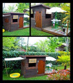 Fabrication d'une cabane de jardin  Une cabane de jardin pour vos enfants … Un peu de récup. et un peu de lasure, quelques outils et accessoires !