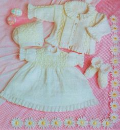 PDF Digital Download Vintage Knitting Pattern Frilled Baby Dress Jacket Bonnet Bootees 14-18 4 ply