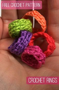 Whip up a selection of gorgeous, colourful, crochet rings with this quick and easy, FREE pattern.