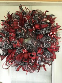 Front door Christmas wreath, Plaid ribbon wreath, Holiday decoration, Front door decoration, Holiday wreath, Wreath for front door by DecoWreathBoutique on Etsy