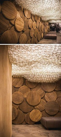 13 Amazing Examples Of Creative Sculptural Ceilings // Brandy bottles make up the ceiling of this brandy bar in Odessa, Ukraine.