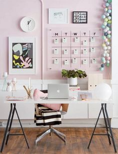 Home Office Desk Decor Ideas . Home Office Desk Decor Ideas . Modern Pink White and Black Home Office Workspace Decor
