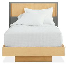 Mason Twin Bed with Sliding-Door Storage Headboard (Kids)- small and simple