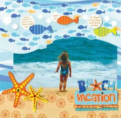 8 Ways To Scrapbook Your Tropical Vacation – Scrap Booking Beach Scrapbook Layouts, Vacation Scrapbook, Scrapbooking Layouts, Scrapbook Borders, Scrapbook Templates, Paper Bag Scrapbook, Scrapbook Supplies, Scrapbook Cards, Birthday Scrapbook
