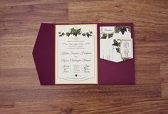 This invitation features an elegant, hand-drawn grapevine. A burlap belly-band goes around the invitation tied with string, a hand-stamped