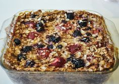 Banana-Berry Baked Oatmeal. To make it lower calorie you cut out the butter or   replace it with unsweetened apple sauce.