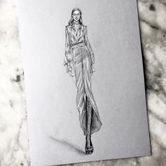 Full view :) @odette.pavlova for @hermes happy Sunday!  #fall17 #pfw #fashion #fashionshow #runwayshow #sketch #drawing #illustration #pencil #fashiondrawing #fashionillustration #glmncsm