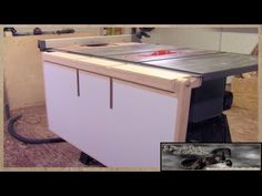 Make A Table Saw Out Feed Table - YouTube White Tv Stands, Black Tv Stand, Table Saw Extension, Bedroom Tv Stand, Diy Tv Stand, Make A Table, Table Lamp Shades, Cool House Designs, Hanging Lights