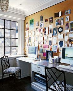 Organized bulletin board in the office.