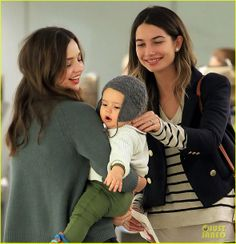 Miranda Kerr with baby Flynn Bloom, and co-super model lily Aldridge