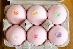 Candy heart scented bath bombs with conversation hearts! #ValentinesDay